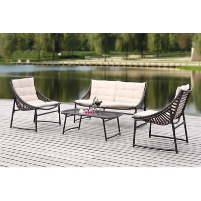 4 Piece Breanna Patio Group Set with Cushion Finish: Brown, Fabric: Red