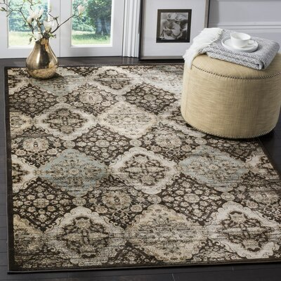Vintage Black/Light Blue Area Rug Rug Size: 8 x 11