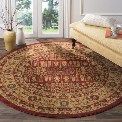 Mahal Red/Natural Area Rug Rug Size: Round 6'7