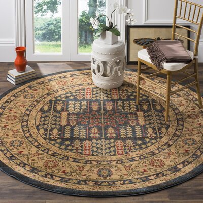 Mahal Navy/Natural Area Rug Rug Size: Round 6'7