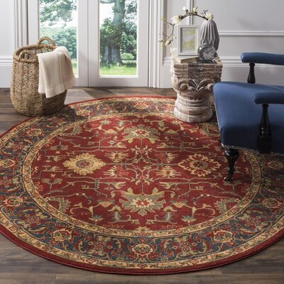 Mahal Red/Navy Area Rug Rug Size: Round 6'7
