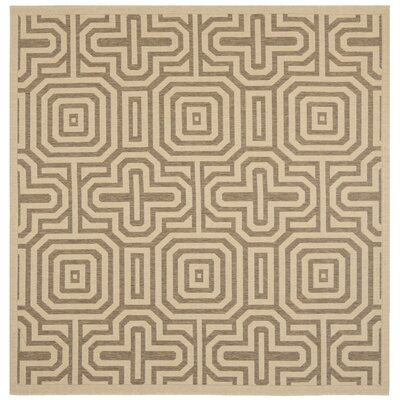 Jefferson Place Natural & Brown Outdoor Area Rug Rug Size: Square 7