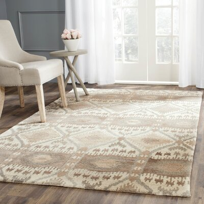 Roberts Hand-Tufted Beige/Gray Area Rug Rug Size: Rectangle 9 x 12
