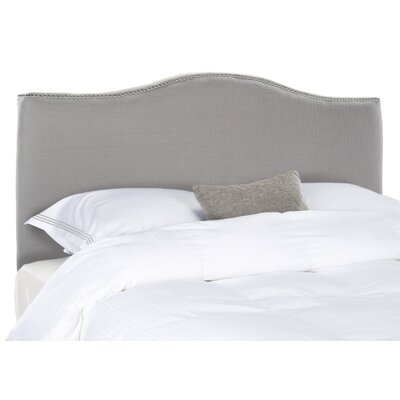 Jeneve Upholstered Panel Headboard Upholstery: Arctic Grey, Nailhead Finish: Silver, Size: Queen