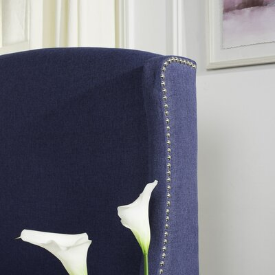Austin Nail Upholstered Wingback Headboard Upholstery: Navy, Size: Twin