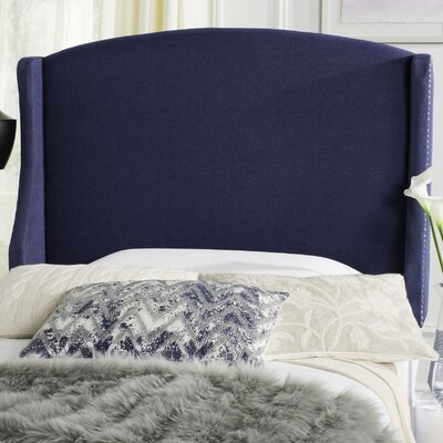 Austin Nail Upholstered Wingback Headboard Size: Queen, Upholstery: Navy