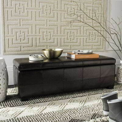 Madison Leather Storage Bench Color: Brown