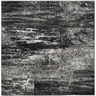 Adirondack Black, Silver/White Area Rug Rug Size: Square 10'