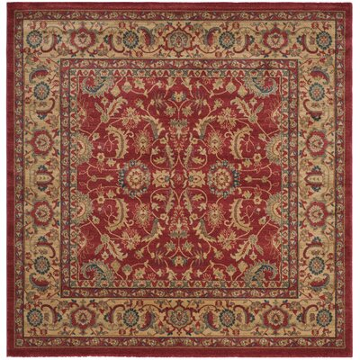 Mahal Red/Natural Area Rug Rug Size: Square 6'7