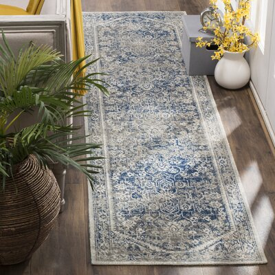 Rhodes Gray/Blue Area Rug Rug Size: Runner 22 x 12
