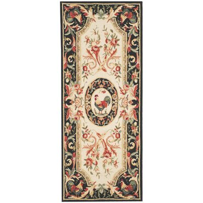 Chelsea Ivory/Black Novelty Area Rug Rug Size: Runner 2'6
