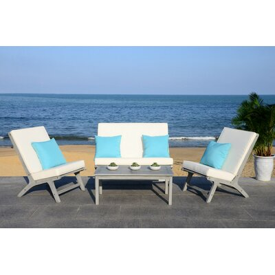 Caila 4 Piece Lounge Seating Group with Cushion Frame Finish: Gray Wash