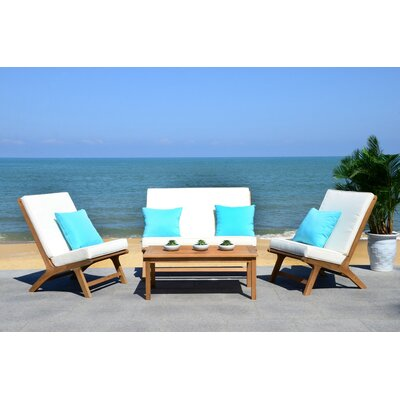 Caila 4 Piece Lounge Seating Group with Cushion Frame Finish: Teak