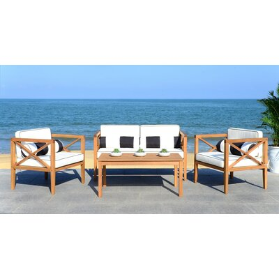 Delray 4 Piece Fabric Lounge Seating Group with Cushion