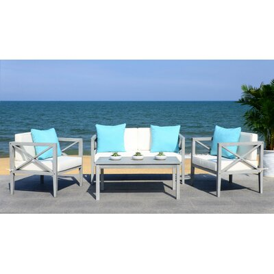 Delray 4 Piece Modern Lounge Seating Group with Cushion