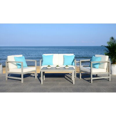 Crocett 4 Piece Modern Lounge Seating Group with Cushion