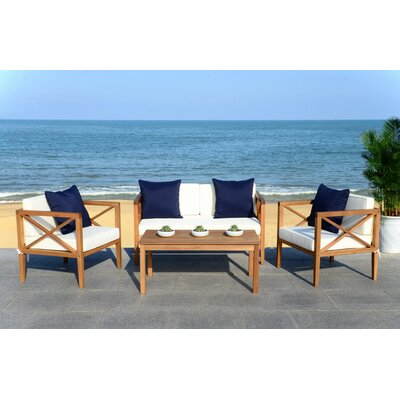Delray 4 Piece Lounge Seating Group with Cushion