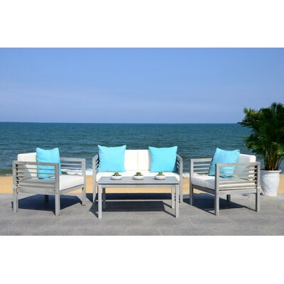 Daytona 4 Piece Outdoor Lounge Seating Group with Cushion