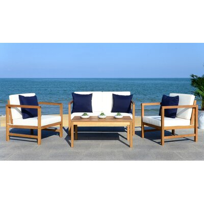 Crocett 4 Piece Fabric Lounge Seating Group with Cushion