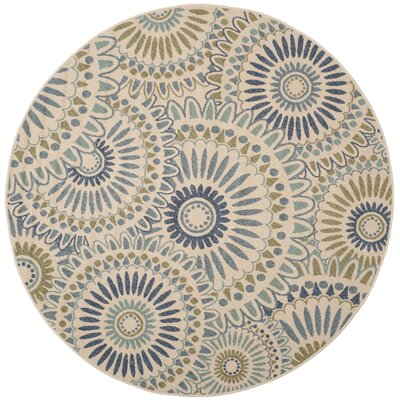 Caroline Indoor/Outdoor Rug in Green Rug Size: Round 6'7