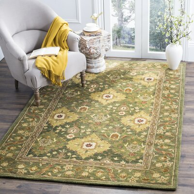 Antiquity Hand-Woven Wool Olive Area Rug Rug Size: Rectangle 76 x 96
