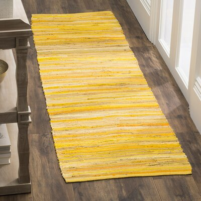 Hand-Woven Yellow Area Rug Rug Size: Runner 23 x 8
