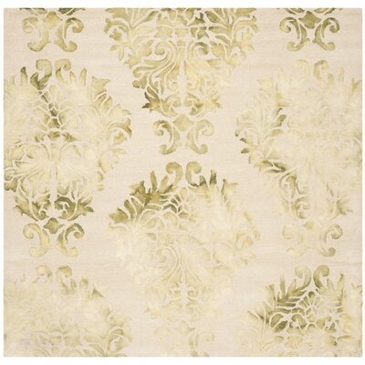 Dip Dye Hand-Woven Beige/Green Area Rug Rug Size: Square 7