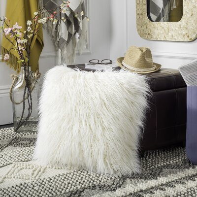 Sandee Faux Flokati Fur Throw Pillow Color: Ivory