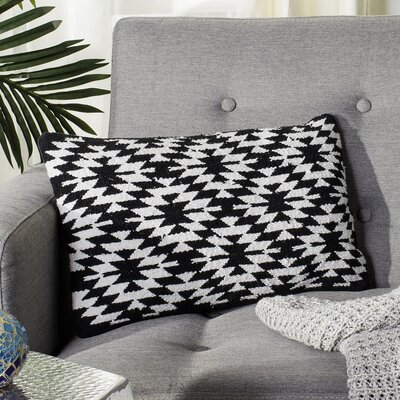 Navajo Cotton Throw Pillow Color: Black