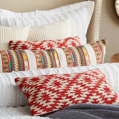 Navajo Cotton Lumbar Pillow Color: Red
