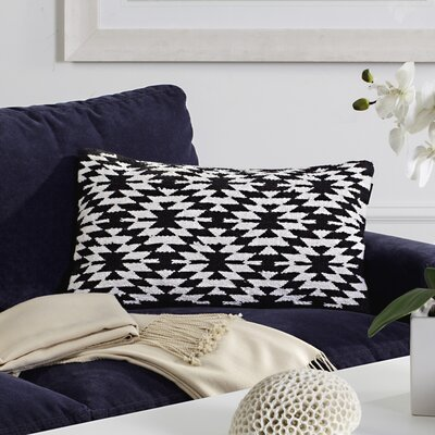 Navajo Cotton Lumbar Pillow Color: Black