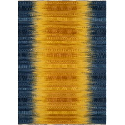 Sojourn Hand-Woven Dark Blue/Yellow Area Rug Rug Size: Rectangle 4 x 6