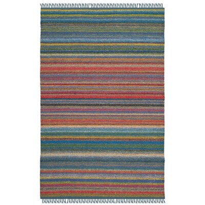 Sojourn Hand-Woven Blue/Orange Area Rug Rug Size: Rectangle 4' x 6'