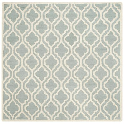 Cambridge Hand-Tufted Spa/Ivory Area Rug Rug Size: Square 6
