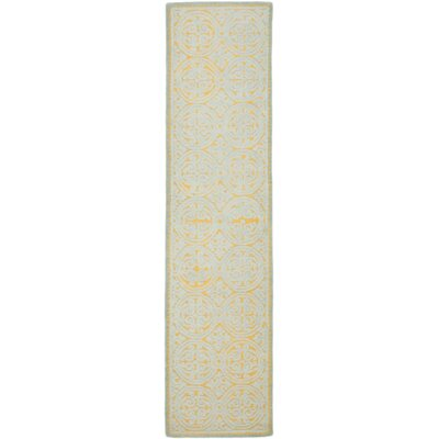 Charlenne Hand-Tufted Blue/Gold Area Rug Rug Size: Runner 26 x 8