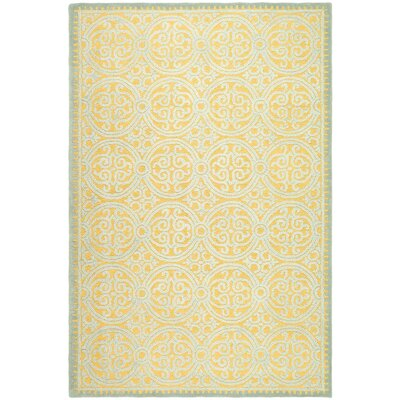 Cambridge Hand-Tufted Blue/Gold Area Rug Rug Size: 6 x 9