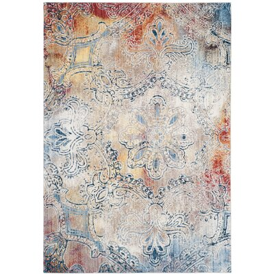 Jasper Blue/Red Area Rug Rug Size: 3 x 5