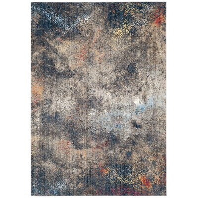 Jasper Blue/Brown Area Rug Rug Size: Round 7