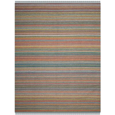 Sojourn Stripped Hand-Woven Blue/Orange Area Rug Rug Size: Rectangle 8 x 10