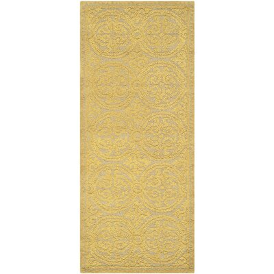 Cambridge Hand-Tufted Wool Gold Area Rug Rug Size: Runner 26 x 6