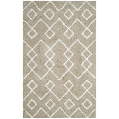 Livingstone Hand-Tufted Beige/White Area Rug Rug Size: Rectangle 4 x 6