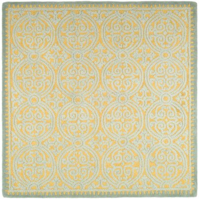 Charlenne Hand-Tufted Blue/Gold Area Rug Rug Size: Square 6