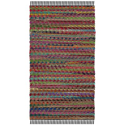Bowen Hand-Woven Natural/Red Area Rug Rug Size: 3 x 5