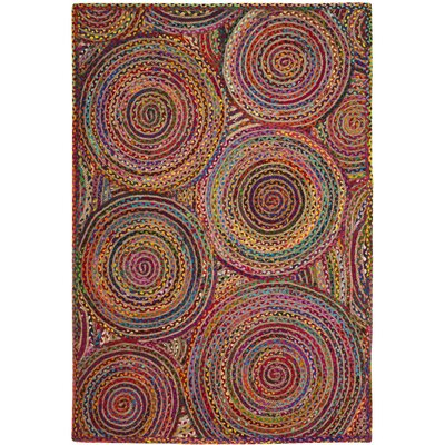 Bowen Hand-Woven Red/Yellow/Puple Area Rug Rug Size: Oval 3 x 5