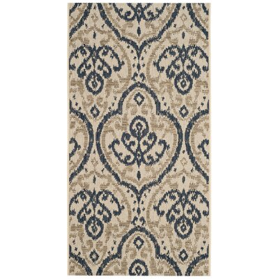 Martha Stewart Fairview Beige/Navy Area Rug Rug Size: Rectangle 27 x 5