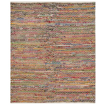 Bowen Hand-Woven Green/Red Area Rug Rug Size: Square 6