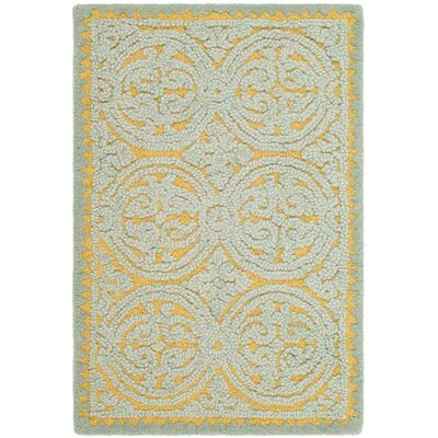 Cambridge Hand-Tufted Blue/Gold Area Rug Rug Size: 2 x 3