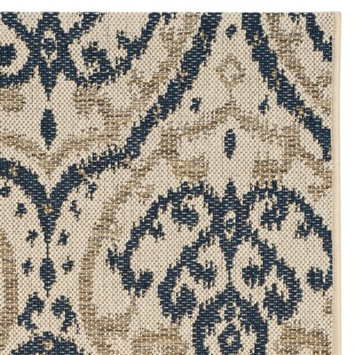 Martha Stewart Fairview Beige/Navy Area Rug Rug Size: 9 x 12