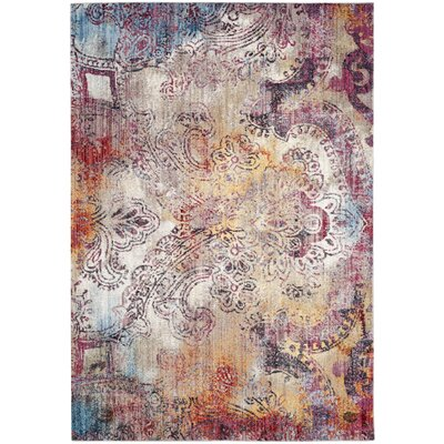 Jasper Red/Yellow Area Rug Rug Size: Round 7