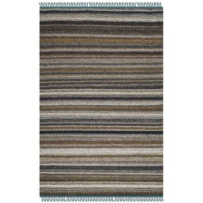 Sojourn Hand-Woven Brown/Blue Area Rug Rug Size: 4 x 6